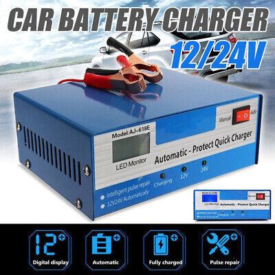 12/24V Motorcycle Car Battery Charger Automatic Intelligent Pulse Repair