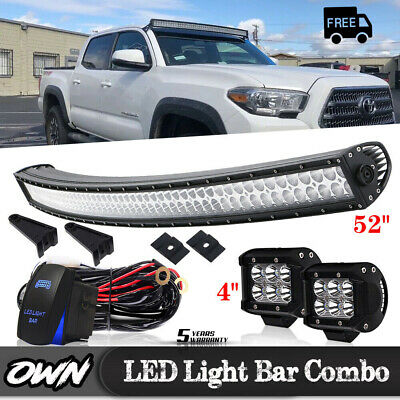 """700W Curved 52inch LED Light Bar Combo + 4"""" Pods Truck Offroad Roof Driving 4WD"""