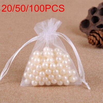 20/50/100Pcs Small White Organza Bags Wedding Favours Pouches Net Jewellery Bag