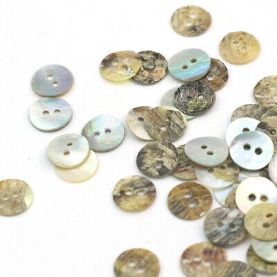 100 Assorted Mother of Pearl Shell Buttons Round 10mm