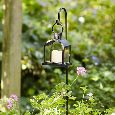 Outdoor LED Battery Hanging Garden Lantern with Shepherds Hook 1m by Lights4fun