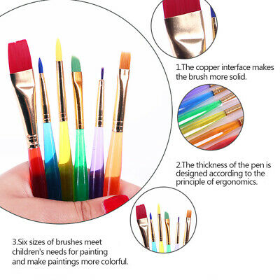 6pcs Kids Art Paint Brushes With Plastic Handle for Artist Kids Painting UK