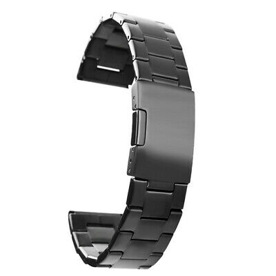 Black 20mm Bracelet Watch Band Strap Replacement Stainless Steel Wristband