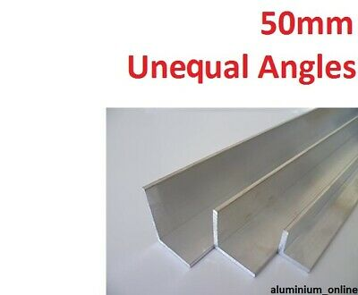ALUMINIUM UNEQUAL ANGLE 50.0mm, 2 thickness, lengths 100mm to 2.500mm