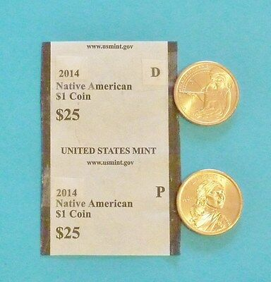 2014  D & P Sacagawea Native American $1 Dollar UNC Coin Set  -2 coins Ship Free