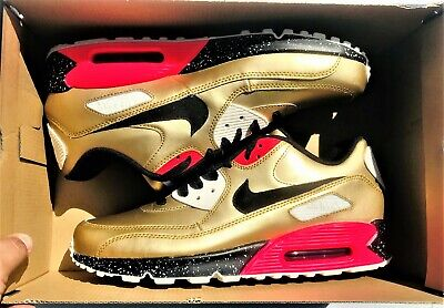 NIKE AIR MAX 90 ID 931902 994 Gold Infrared Black Summit White Men's Size 11