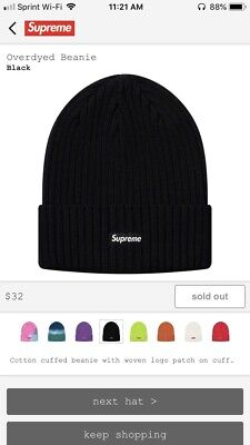 af87ae7de58 SUPREME OVERDYED RIBBED Beanie Black Navy Light Pink Brown Ice Blue ...