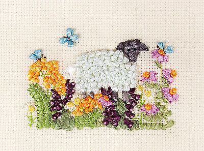 Panna Ribbon Embroidery Kit - Sheep in the Meadow J-1018