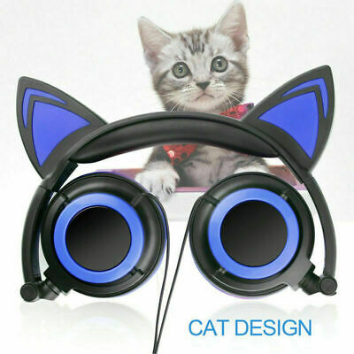 Wired LED Glowing Cat Ear Headphones Foldable Earphone Kids Headset For iPhone