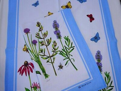 Linen Union Glass/Tea Towel  55/45  Herbs and Butterflies   Great Design  New
