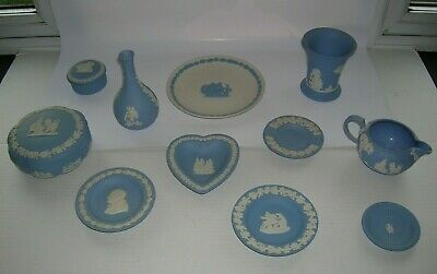 Wedgwood Blue and White Jasperware Job Lot 11 Eleven Pieces