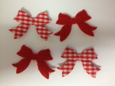 50 Red Gingham Check Bows Christmas Card Making Scrapbook Craft Embellishments