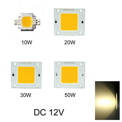 LED Chip 12V Beads 10W/20W/30W/50W COB High Power DIY Super Bright Warm White