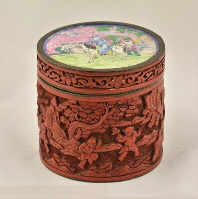 Antique Chinese carved cinnabar,cloisonne enamel tobacco jar,humidor,19thC