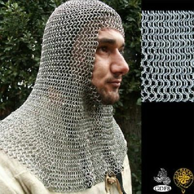 HQ  CHAINMAIL Medieval HOOD 10 MM Mild Steel U-SHAPE OILED FINISH FS