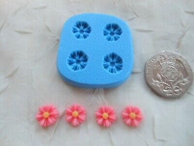 Sugarcraft/Fimo MOULD: 4 Miniature Daisy Floral Flowers 9mm (Dolls House Tiny)