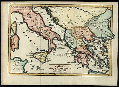 Mediterranean Italy Greece Balkans Thrace c.1750-80 miniature hand color map