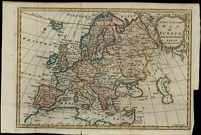 Europe continent 1766 Gibson engraved old hand color map decorative cartouche