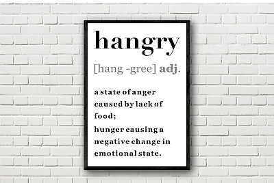 HANGRY Food Quote. Dictionary Definition Typography Funny Wall Art Print Poster