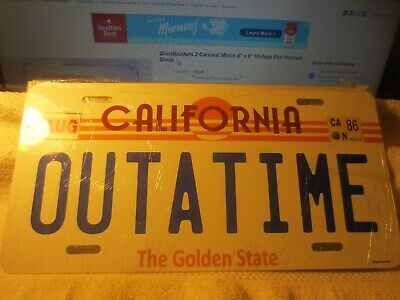 Back to the Future OUTATIME License Plate ALUMINUM W/ MARTY DRIVERS LICENSE NICE