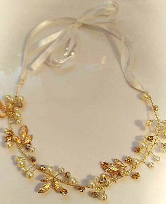 Wedding Bridal hair Accessories Tiara Headband Gold Leaf Faux Pearl Diamonte