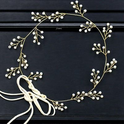 Gold Pearl Garland Vine Wedding Bridal bride piece hair Accessories Headband