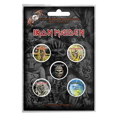 Iron Maiden badge pack Band logo Eddie Book of Souls Official 5 x Pin Button