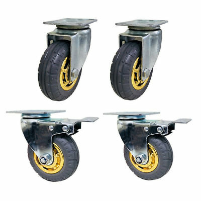 "4 x Swivel Caster Wheels- 5""/125mm, 2 w/Brakes, Heavy Duty, 500KG Load Capacity"