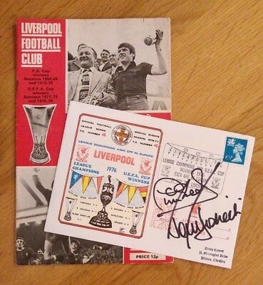 Hand Signed FDC + Match Programme - Liverpool FC v Crusaders European Cup 1976