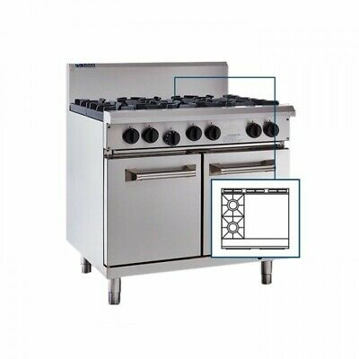 LUUS Professional 2 Burner 600mm Griddle Flat Hot Plate Grill & Oven RS-2B6P LPG