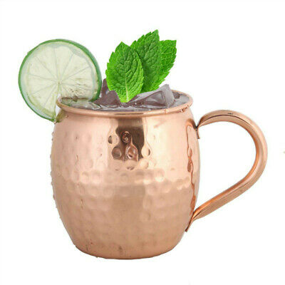 Moscow Mule Copper Mugs 500ml 100% Solid Pure Copper Hammered Barrel Cup Mug