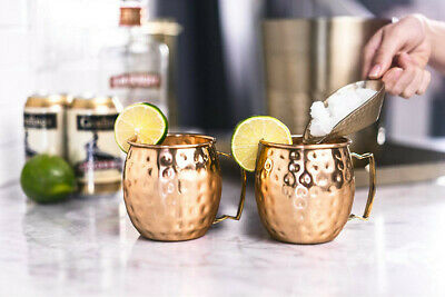 Set of 2 Copper Moscow Mule Mug Handmade Hammered Pure Copper with Brass Handle