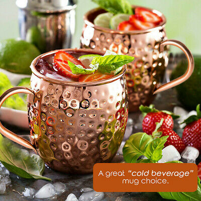 Set of 4 Hammered Moscow Mule Copper Mugs With Handles 500ml Genuine Copper Cups
