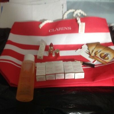 CLARINS GIFT SET/HOLIDAYS/Birthday/Party/9-ITEMS+BEACH BAG/Mother's day/Travel