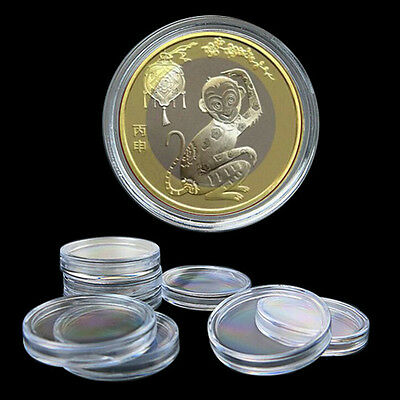 10X 35mm Applied Clear Round Cases Coin Storage Capsules Holder Round Plastic TY