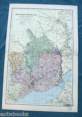 MONMOUTHSHIRE  -  Original Large Antique County Map -  BACON , 1897.