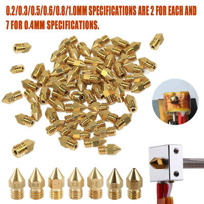 19Pcs MK8 Extruder Nozzle 0.2~1.0mm For Makerbot CR-10 Ender 3D Printer M6 Set
