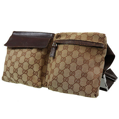 86669a4858e6 GUCCI GG Canvas Fanny Pack Waist Pouch Bag Brown Italy Vintage Authentic  #O695 I