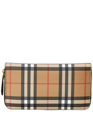 848470ff7b82 BURBERRY LARGE VINTAGE Check Leather Wallet- Black 4073220 -  524.99 ...