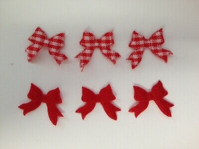 50 Mini Red Gingham Bows Christmas Card Making Scrapbook Craft Embellishments
