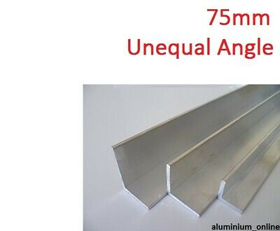 ALUMINIUM UNEQUAL ANGLE 75mm, 1 thickness, lengths 100mm to 2.500mm