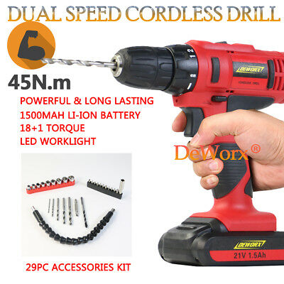 Heavy Duty 21V Cordless Combi Drill Driver + Li-Ion Fast Charge + Case Portable