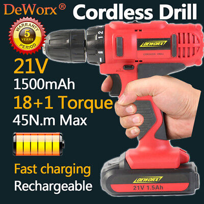 Heavy Duty 1500Mah 21V Cordless Combi Electric Driver Kitchen Diy Tool Portable