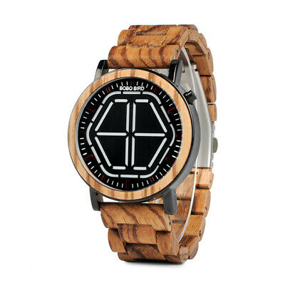 Men Creative Led Digital Display All-Wood Electronic Watch Wrist Watches New