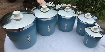 KITCHEN CANISTERS ANODISED ALUMINIUM BLUE CIRCA 1970's