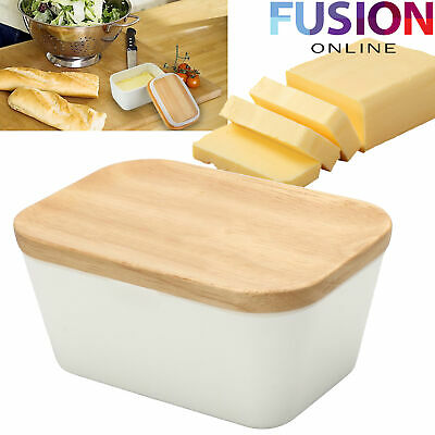 Butter Dish Holder Box Storage Kitchen With Wooden Lid Fridge Table Serving