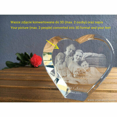 3D crystal heart - a personalised gift with 3D picture - 2 faces - Anniversary.