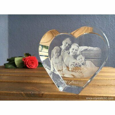 A 3D crystal heart - a personalised gift with 3D picture - 2 faces - Valentine's
