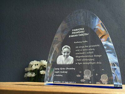 Personalised colored crystal -Gift for the First Communion.Crystal gift. Engrave