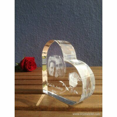 Crystal heart - a personalised gift for Anniversary with picture - Original Gift